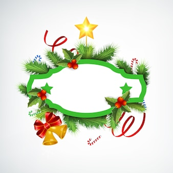 Realistic christmas wreath with blank frame fir branches ribbons candies jingle bells and star