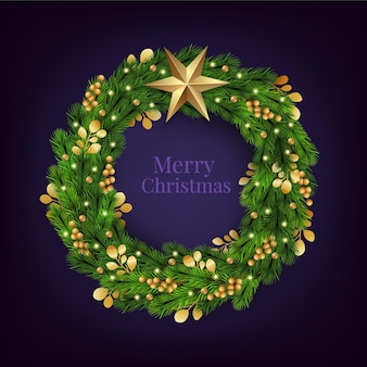 黄金の星とリアルなクリスマスリース