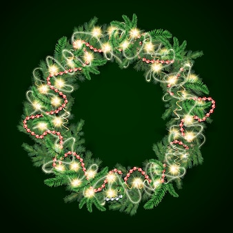 Realistic christmas wreath with lights