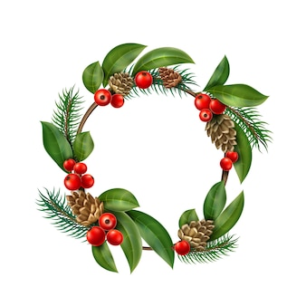 Realistic christmas wreath with red berry, cone leaves
