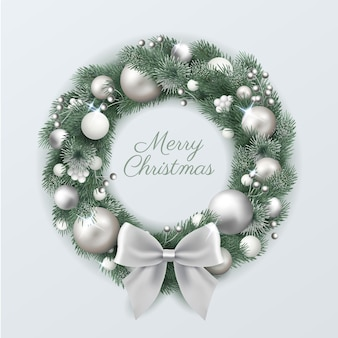 Realistic christmas wreath with silver decorations
