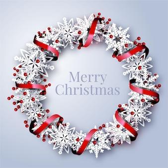 雪片とリアルなクリスマスリース