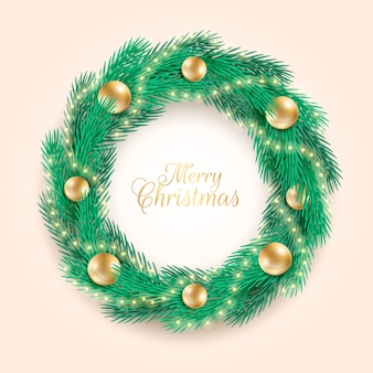 Realistic christmas wreath