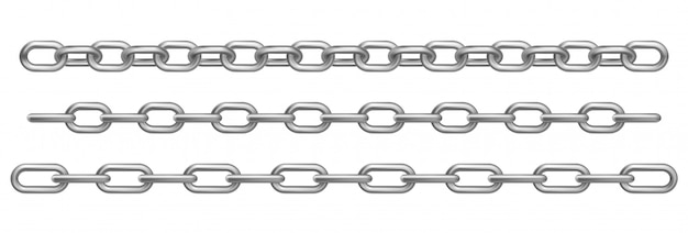 Realistic chrome metal chains