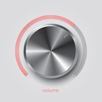 Realistic chrome volume knob, vector illustration