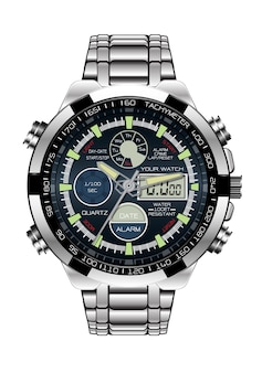 Realistic chronograph stainless steel.