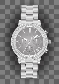 Realistic chronograph watch silver diamond on checkered.