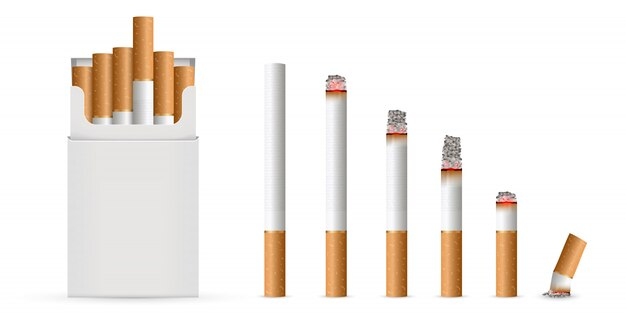 Realistic cigarette, stages of burn.