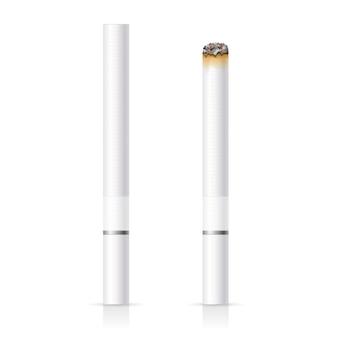 Realistic cigarette with white filter tobacco ashes.