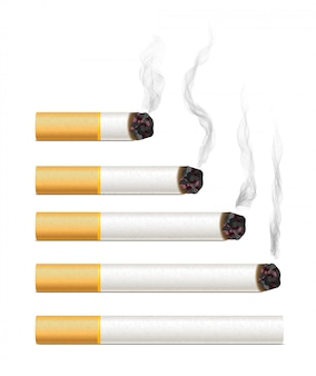 Realistic cigarettes with smoke