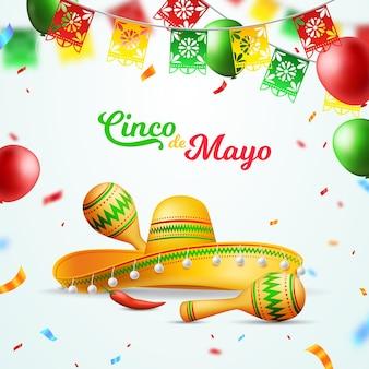 Реалистичная иллюстрация синко де майо