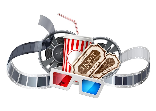 Realistic cinema advertising poster soda paper cup movie tape reel cinema 3d glasses and tickets