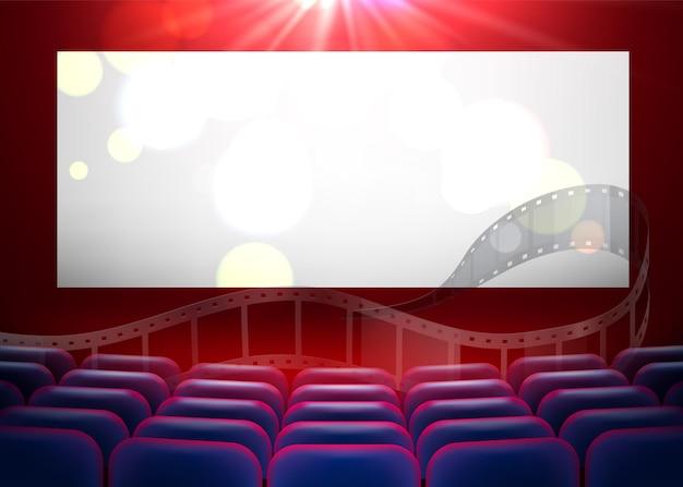 Realistic cinema auditorium with armchairs