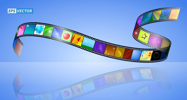 Realistic cinema clapper board isolated or film strip cinema 35mm type