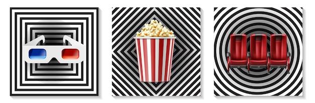 Collezione di elementi cinematografici realistici con popcorn occhiali 3d in secchio a strisce rosse