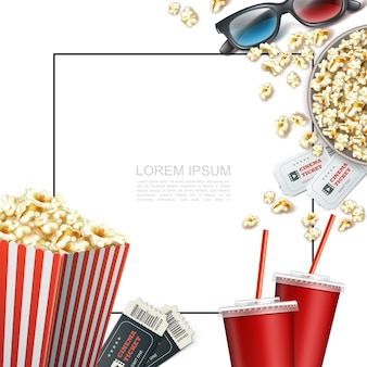 Realistic cinema elements template with frame for text 3d glasses tickets soda cups striped paper box and bucket of popcorn