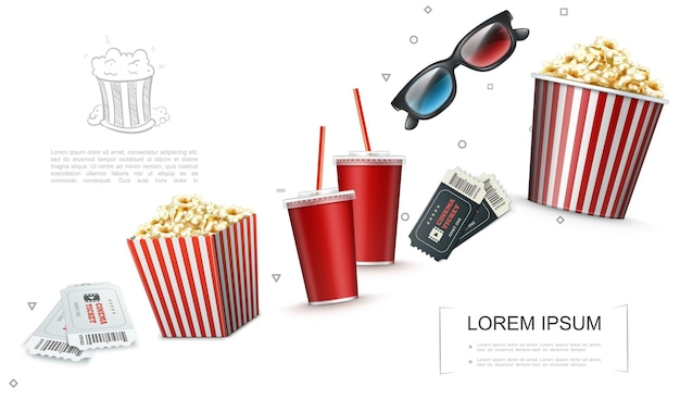 Realistic cinema elements template with tickets 3d glasses soda cups striped bag and bucket full of popcorn