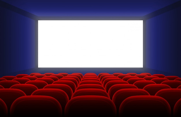 Realistic cinema hall interior with blank white screen and red seats vector illustration
