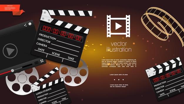 カチンコ、フィルムストリップ、リールのイラストとリアルな映画の明るい背景