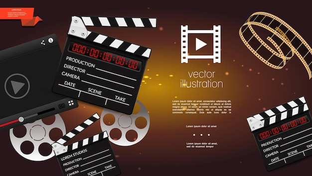 Realistic cinema light background with clapperboard, film strip and reels illustration