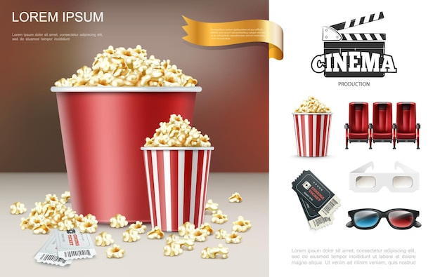 Realistic cinema and movie composition with popcorn in red buckets clapper comfortable seats tickets