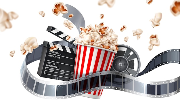 Realistic cinema poster popcorn bucket clapperboard movie tape and reel flying popcorn in motion