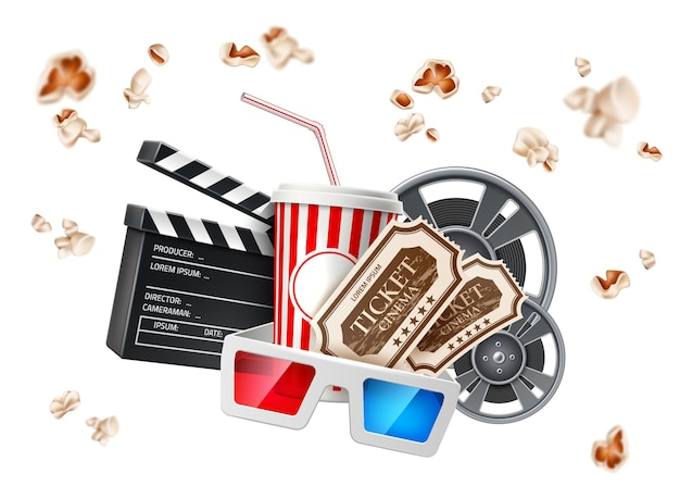Realistic cinema poster soda paper cup tape reel clapperboard glasses tickets   flying popcorn