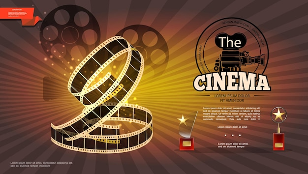 Realistic cinematography bright with film reels camera filmstrip and cinema awards illustration