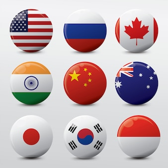 Realistic circle icon flag in the world