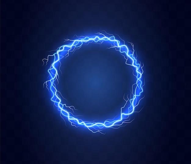 Realistic circle of thunder storm lightnings.