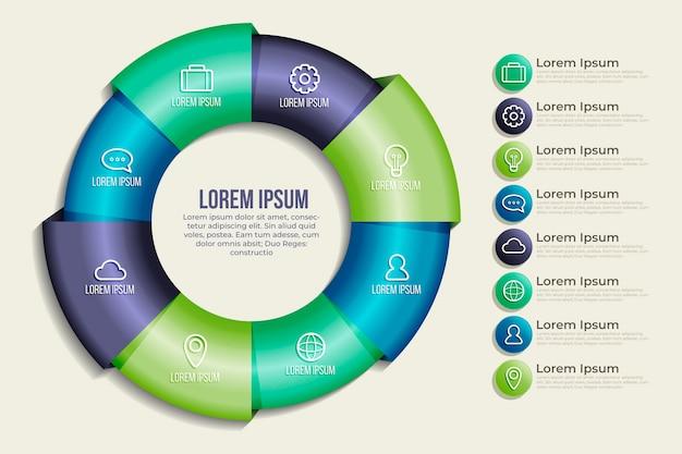 Realistic circular diagram infographic template