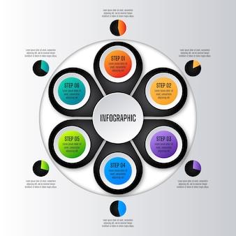 현실적인 원형 다이어그램 infographic 템플릿
