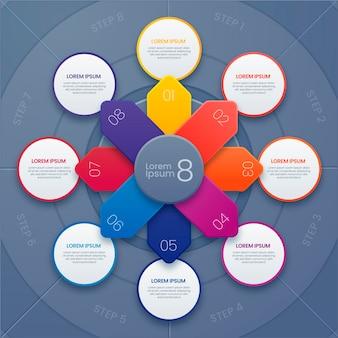 Modello di infografica con diagramma circolare realistico