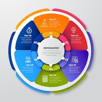 Modello di infografica diagramma circolare realistico