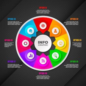 Реалистичная круговая диаграмма инфографики