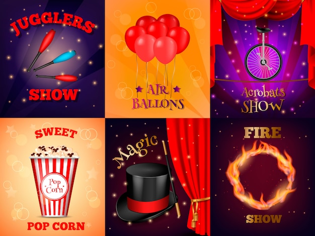 Realistic circus cards set