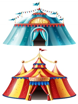 Realistic circus tent icon set