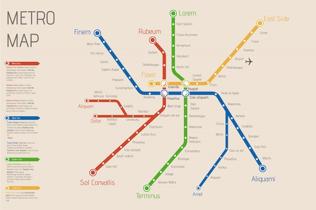 Realistic city  metro  map