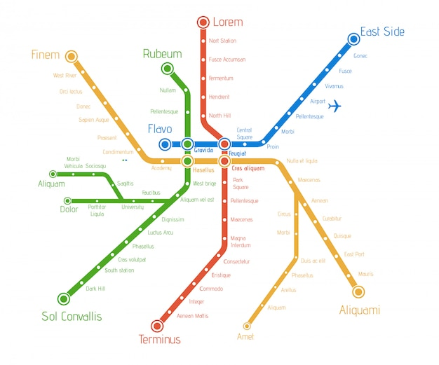 Realistic city  metro  map.