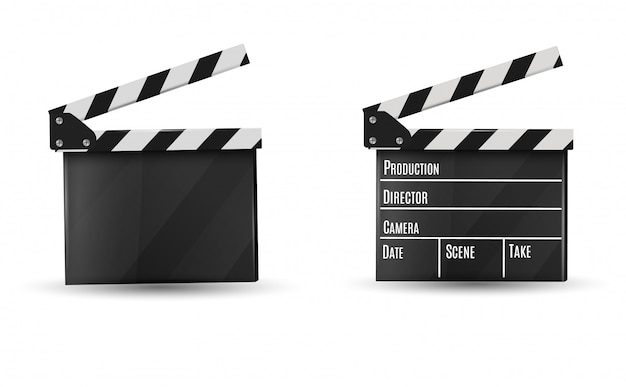 Realistic clapper.board on a white background. illustration.