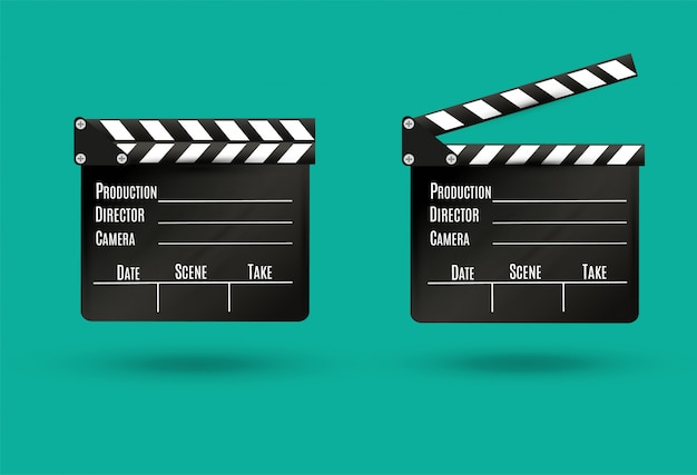 白background.film.timeの現実的なclapper.cinema.board。図。