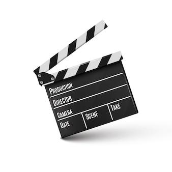 白background.film.timeの現実的なclapper.cinema.board。