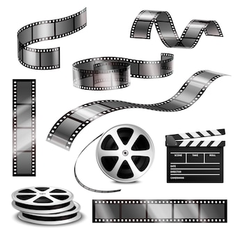 Realistic clapper photographic strips and film