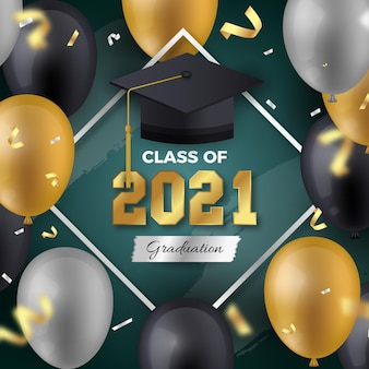 Realistic class of 2021 illustration Free Vector