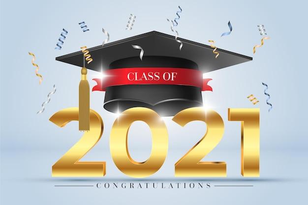 Realistic class of 2021 illustration