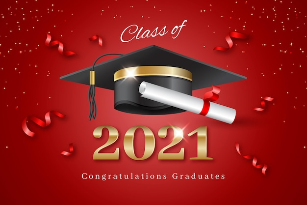 Realistic class of 2021 illustration