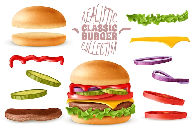 Набор реалистичных классических элементов бургера