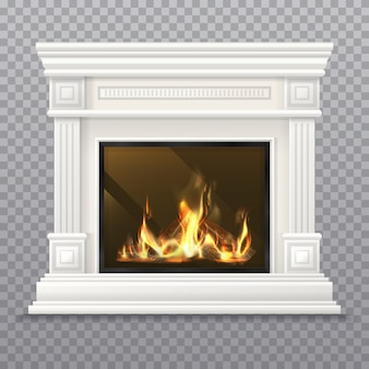 薪と燃える火が付いている現実的な古典的な暖炉。壁付きの屋内煙突、3dマントルピースまたはヴィンテージオーブンのデザイン、石炭ストーブ。クリスマスの背景のマントルピース。分離されたマントルシェルフ