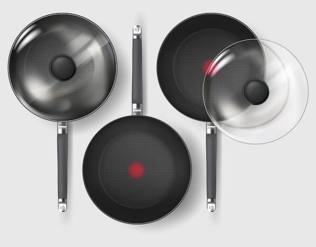 Realistic classic fry pan with glass lid and handle.