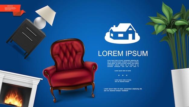 Realistico classico concetto di elementi interni con camino confortevole poltrona houseplant comodino luce notturna su sfondo blu
